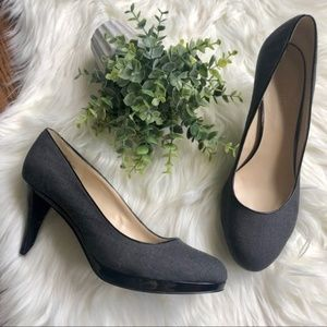 Nine West Grey Black Round Toe Heels Size 10
